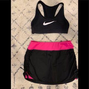 Women's workout skort and bra